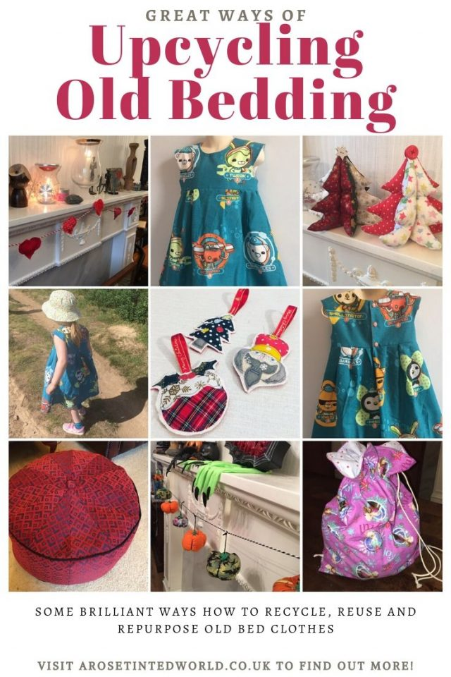 Upcycling Old Bedding - some great ideas & ways to recycle, repurpose or reuse old bed clothes, sheets & duvet covers. Be sustainable & make something new! Sewing ideas and tutorials on how to reuse instead of sending to landfill. Ecofriendly and zero waste. #sewingprojects #zerowaste #upcycling #repurpose #reuse #upcyclingbedding #upcyclongoldbedclothes