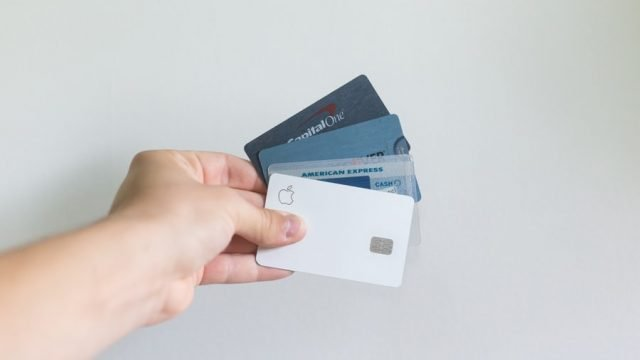 Credit cards in a hand
