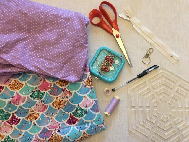 Materials needed for hexagonal pouches