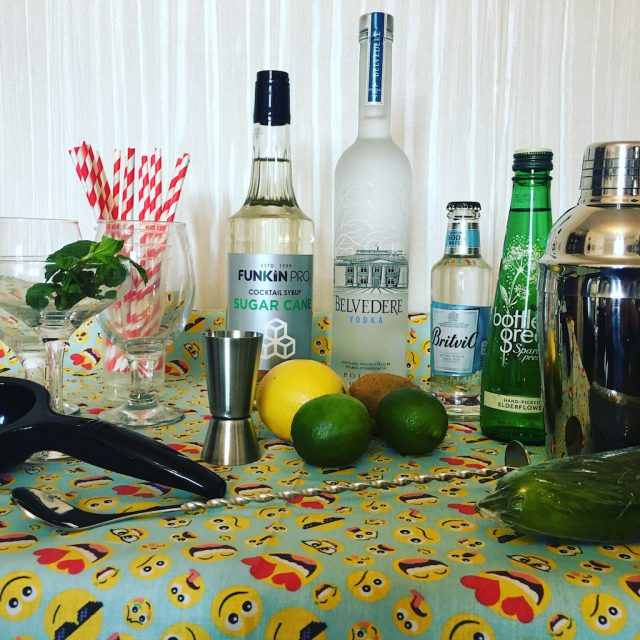 Ingredients for a cocktail mixing class