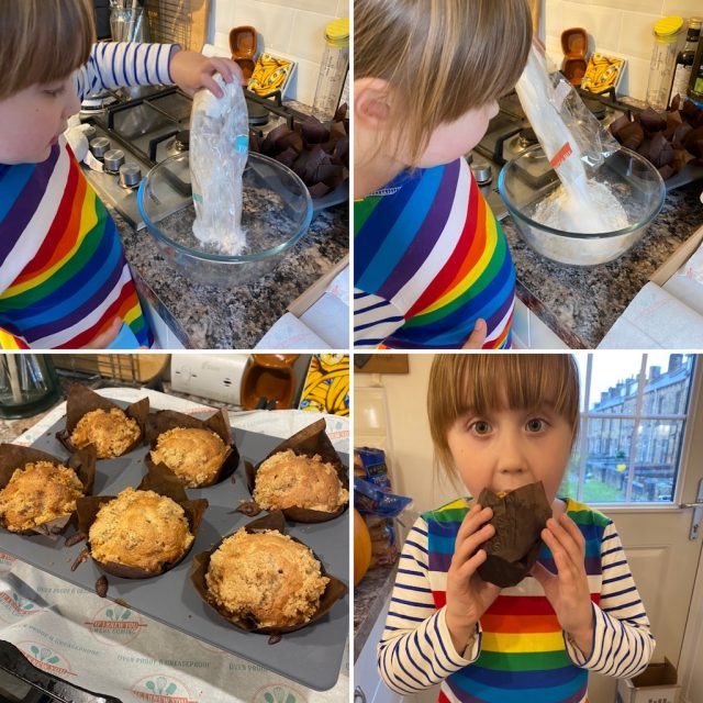 Making the Apple Crumble Muffins