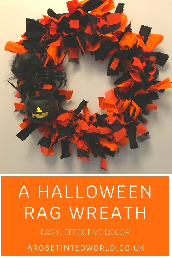 How To Make A Halloween Rag Wreath - make a quick, easy & effective door decoration following this simple tutorial. Perfect Fall craft project. A great way to decorate and adorn any door or porch for the spooky season. Halloween DIY decor. Easy step by step pictorial tutorial.