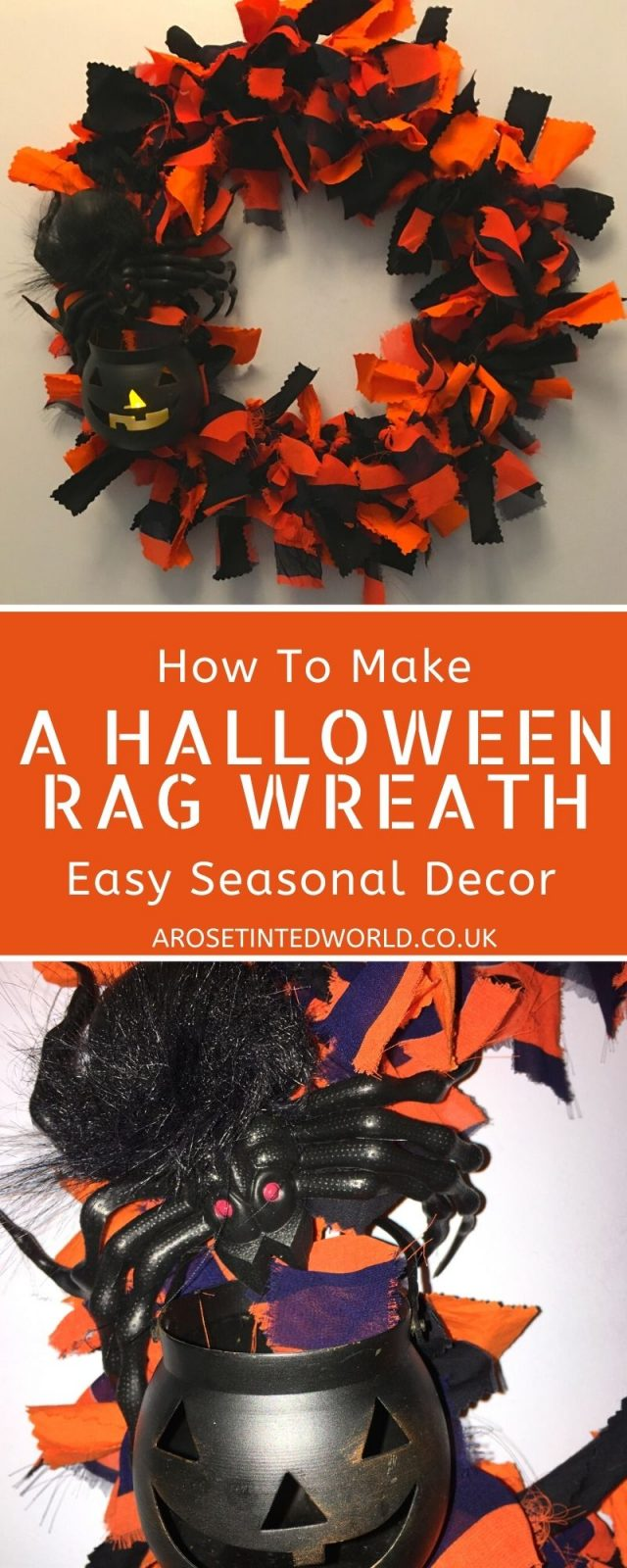 How To Make A Halloween Rag Wreath - make a quick, easy & effective door decoration following this simple tutorial. Perfect Fall craft project