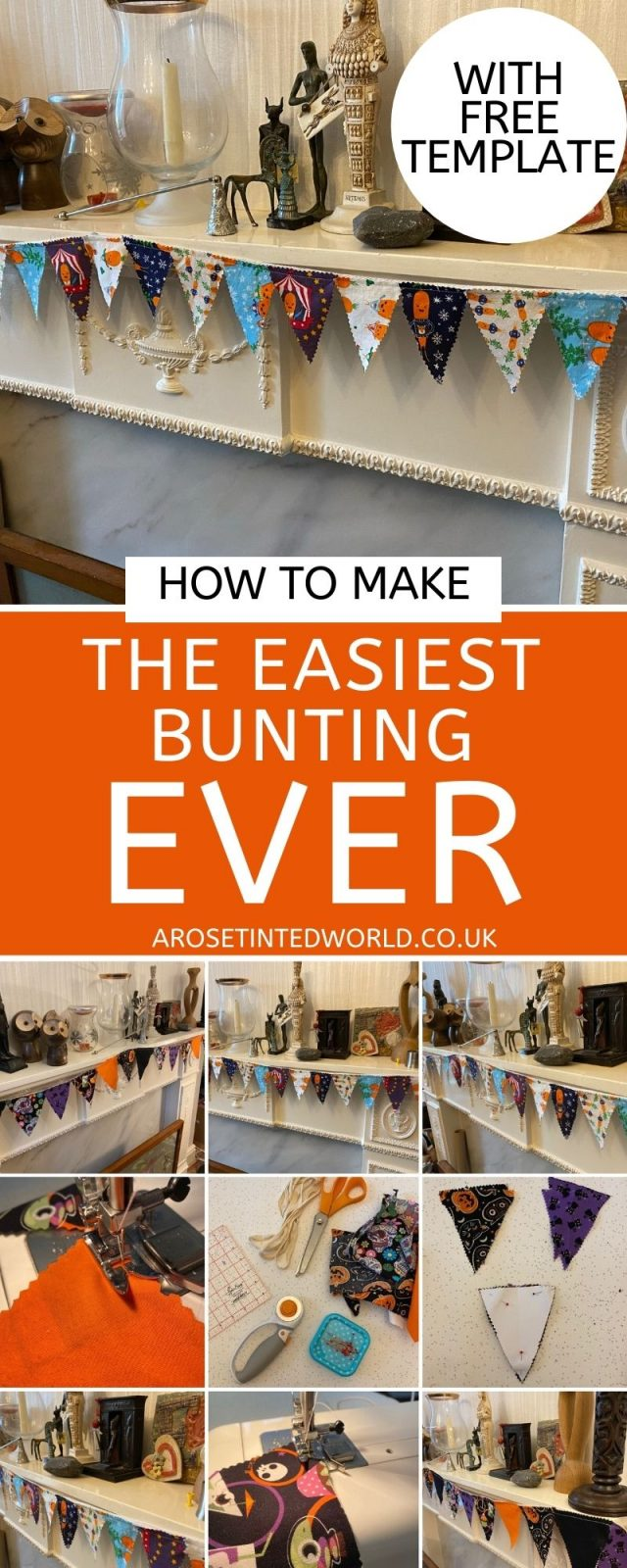 How To Make The Easiest Bunting Ever - this bunting is quick, easy, simple to make and uses up your fabric scraps. Get the free template here