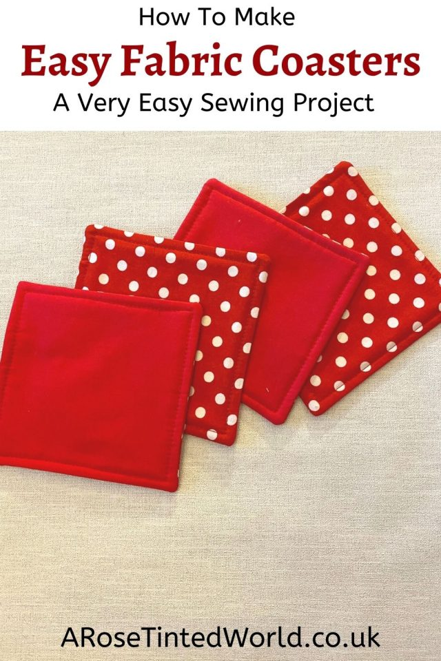 How To Make Easy Fabric Coasters - these simple mug rugs make great gifts & are also a good idea to sell. A brilliant beginner sewing project, they can easily be made from fabric scraps and up cycled cloth.