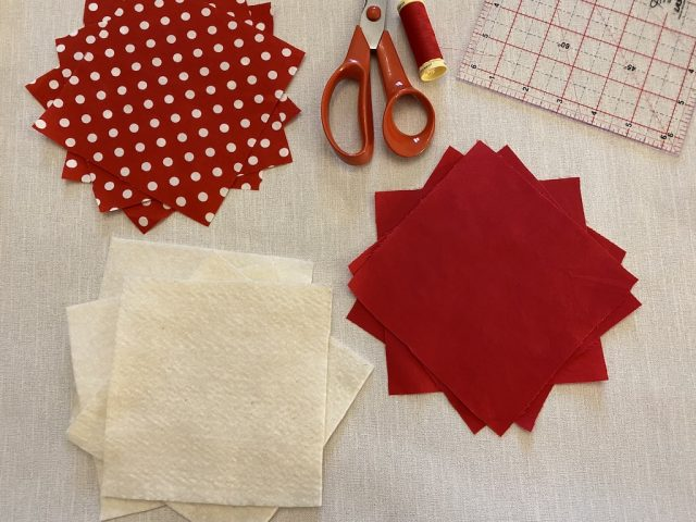 Materials needed for fabric coasters