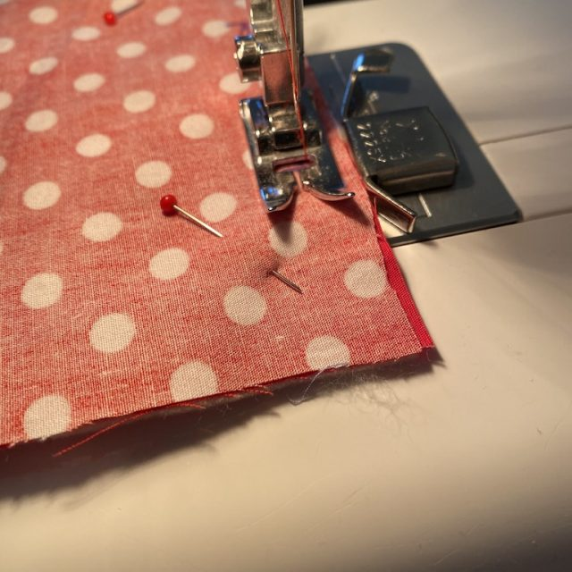 Sewing the coasters