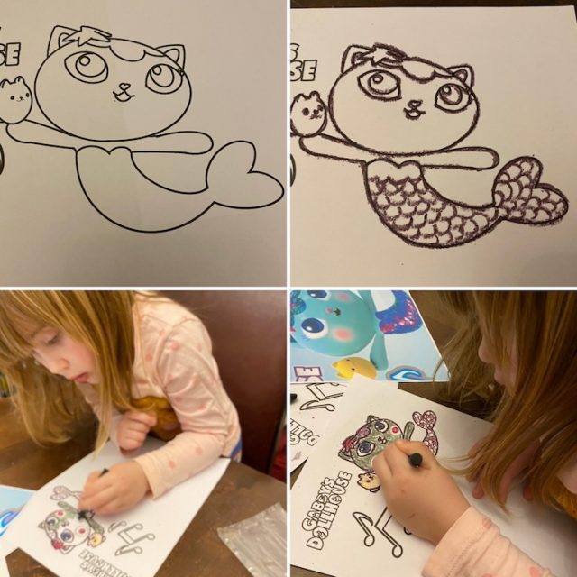 Colouring in using the crayons