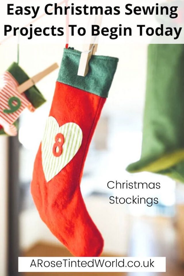 Christmas Stocking -Easy Christmas Sewing Projects to start making today. Prepare for Xmas, start to sew these simple useful decoration, present and gift ideas. Zero waste and scrapbusting things to make for the festive season. Decorate your home, make beautiful gifts and decor using these 12 brilliant free patterns and tutorials. Create the perfect handmade Christmas!