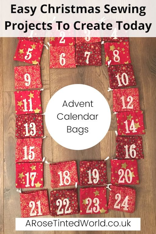 Advent Calendar Bags -Easy Christmas Sewing Projects to start making today. Prepare for Xmas, start to sew these simple useful decoration, present and gift ideas. Zero waste and scrapbusting things to make for the festive season. Decorate your home, make beautiful gifts and decor using these 12 brilliant free patterns and tutorials. Create the perfect handmade Christmas!