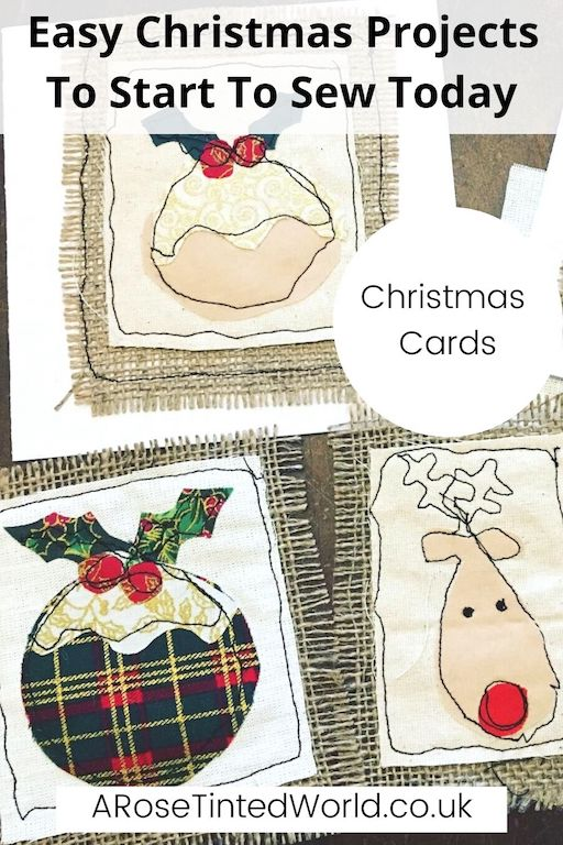 Fabric Sewn Christmas Cards -Easy Christmas Sewing Projects to start making today. Prepare for Xmas, start to sew these simple useful decoration, present and gift ideas. Zero waste and scrapbusting things to make for the festive season. Decorate your home, make beautiful gifts and decor using these 12 brilliant free patterns and tutorials. Create the perfect handmade Christmas!