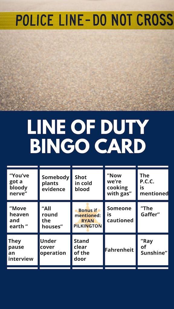 Line Of Duty Bingo Card