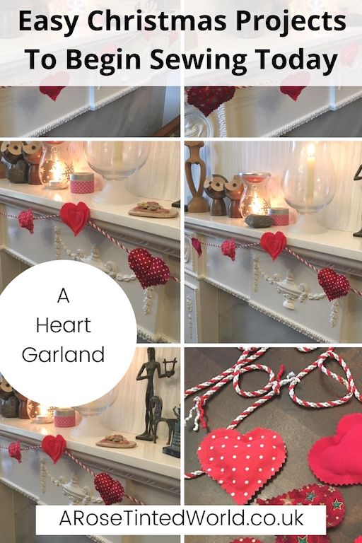 Heart Garland -Easy Christmas Sewing Projects to start making today. Prepare for Xmas, start to sew these simple useful decoration, present and gift ideas. Zero waste and scrapbusting things to make for the festive season. Decorate your home, make beautiful gifts and decor using these 12 brilliant free patterns and tutorials. Create the perfect handmade Christmas!