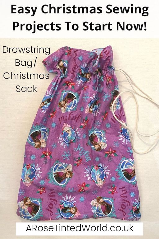 Drawstring Bag or Christmas Sack -Easy Christmas Sewing Projects to start making today. Prepare for Xmas, start to sew these simple useful decoration, present and gift ideas. Zero waste and scrapbusting things to make for the festive season. Decorate your home, make beautiful gifts and decor using these 12 brilliant free patterns and tutorials. Create the perfect handmade Christmas!