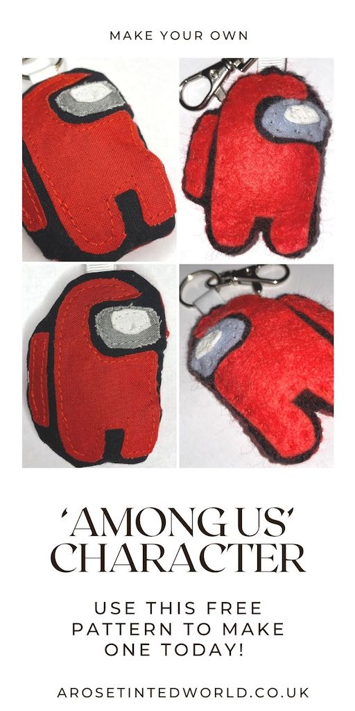 How to make an Among Us character keyring or decoration - create your own Crew Member or Imposter using this free pattern template & easy sewing tutorial with full instructions and pictures. Make the character in felt or fabric, and it can be used as a key ring, bag charm or even a Christgmas decoration! Great gift or idea to sell, make them for all your friends and family that love the popular mobile game. Simple small present that you can sew yourself from fabric scraps for Xmas or birthdays.