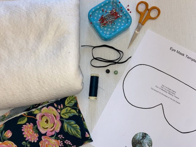 Materials needed for an eye mask