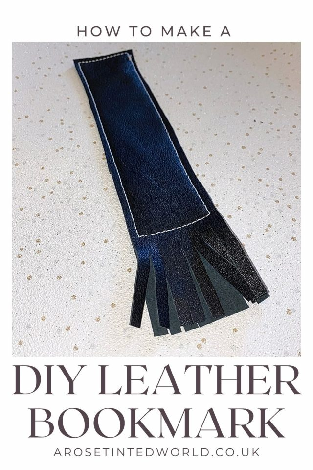 DIY leather bookmark - how to make a simple leather page keeper from an old soft upcycled leather jacket. Zero waste and sustainable sewing project that reuses an old leather garment to make a new gift or item to sell. Use this easy sewing tutorial and create your own small leather goods from a thrifted or charity shop find. Great upcycling idea - stop old clothes going to landfill by reusing and recycling every last small piece!