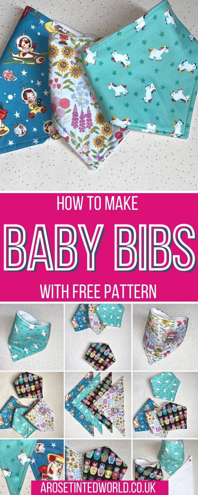 How to make baby bibs - learn to sew your own baby bandana dribble bib using this easy sewing tutorial & free baby bib pattern. Beginner sewing project ideal for a novice. Great gift idea, perfect for last minute baby shower presents. Simple sewing projects in less than 15 minutes. Sewing project that oyu can sell at craft fairs and school fundraisers. How to make a baby bib.