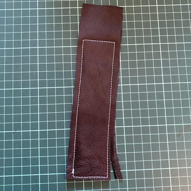 Line of Rectangular stitching - gap of free leather at one end - and trimming seam allowance
