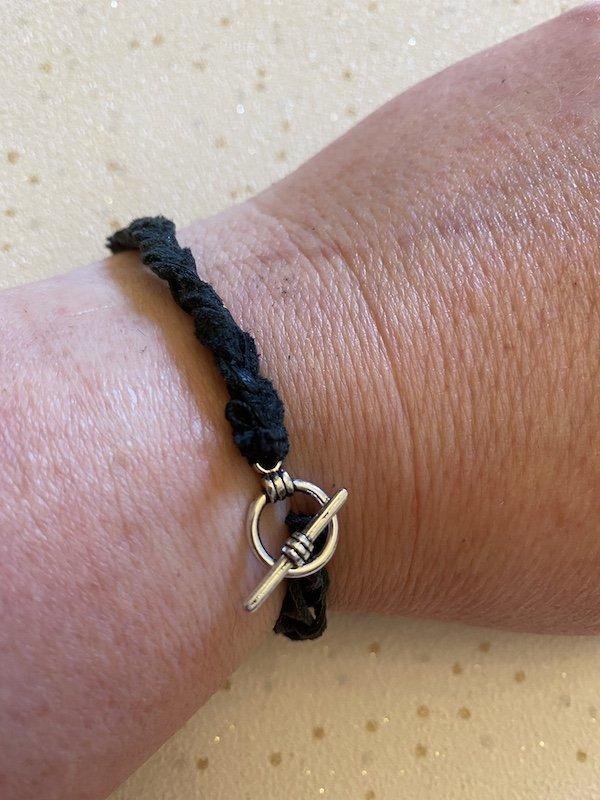 Leather bracelet from upcycled jacket