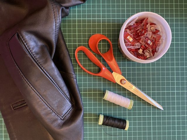 Materials needed for DIY leather bookmark