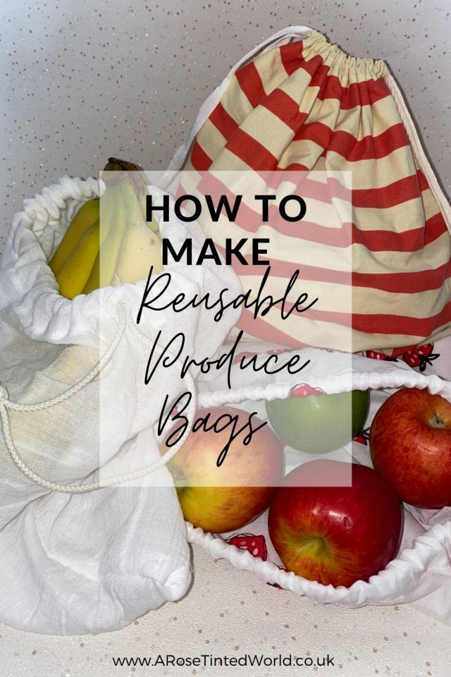DIY Reusable Zero Waste Produce Bags - This easy step by step sewing tutorial shows you how to make DIY produce bags. Unlined Drawstring bag tutorial to show you how to make these zero waste shopping bags for weighing out your loose produce at the shops or supermarket. How to make reusable produce bags and reduce or stop your daily plastic use at home, in the kitchen or when grocery shopping