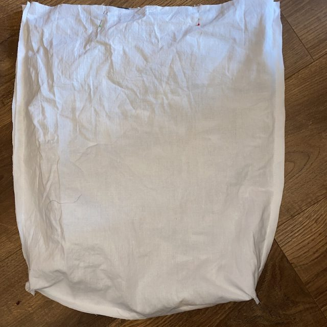 Sewing the 2 layers of bag together - part 1