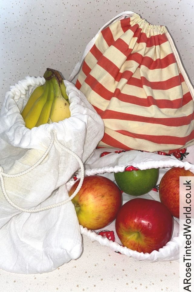 DIY Reusable Zero Waste Produce Bags - This easy step by step sewing tutorial shows you how to make DIY produce bags. Unlined Drawstring bag tutorial to show you how to make these zero waste shopping bags for weighing out your loose produce at the shops or supermarket. How to make reusable produce bags to reduce or stop your daily plastic use at home, in the kitchen or when grocery shopping. Perfect for Plastic Free July