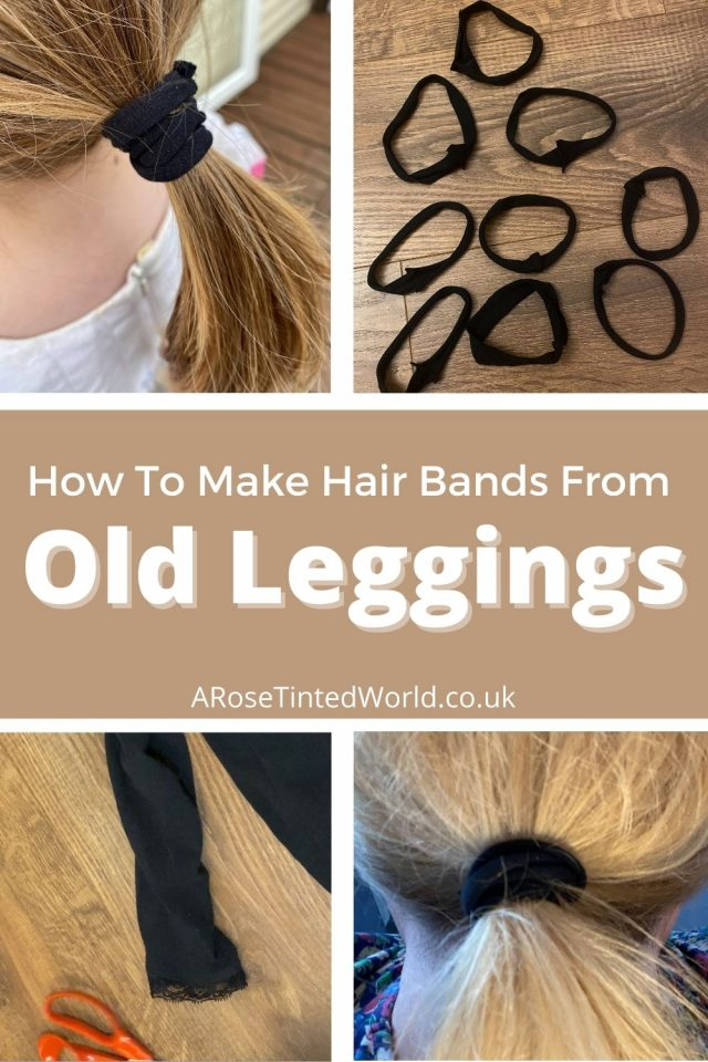 Do you have old leggings that are worn and full of holes? Instead of sending them to the trash and landfill why not make hair bobbles and headbands from them instead? Upcycle old tights and leggings with this quick and easy craft tutorial. Follow me for more upcycling ideas, clothes refashiobs and ways to reuse and recycle your fabric scraps and leftover fabric pieces.