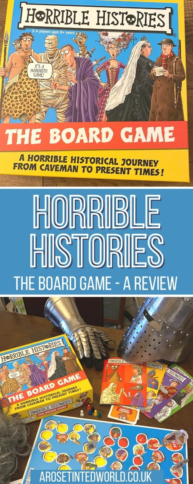 Horrible Histories Board Game Review - we were sent a copy of the Horrible Histories game. See what we thought of this fun yet educational board game based on the award winning Horrible Histories book series and CBBC TV show. Travel through the ages from the Stone Age to the present time, meeting the Rotten Romans, Measly Middle Ages, Terrifying Tudors and Vile Victorians. Avoid Rattus and his tricky chance cards as you play the Horrible Histories game!