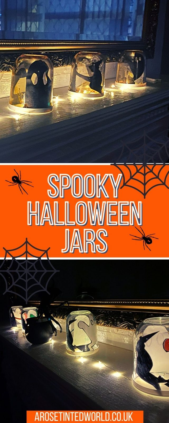 Creepy Halloween Jars - These spooky upcycled DIY decorations are quick, easy & small child friendly. Perfect for a younger child's party!