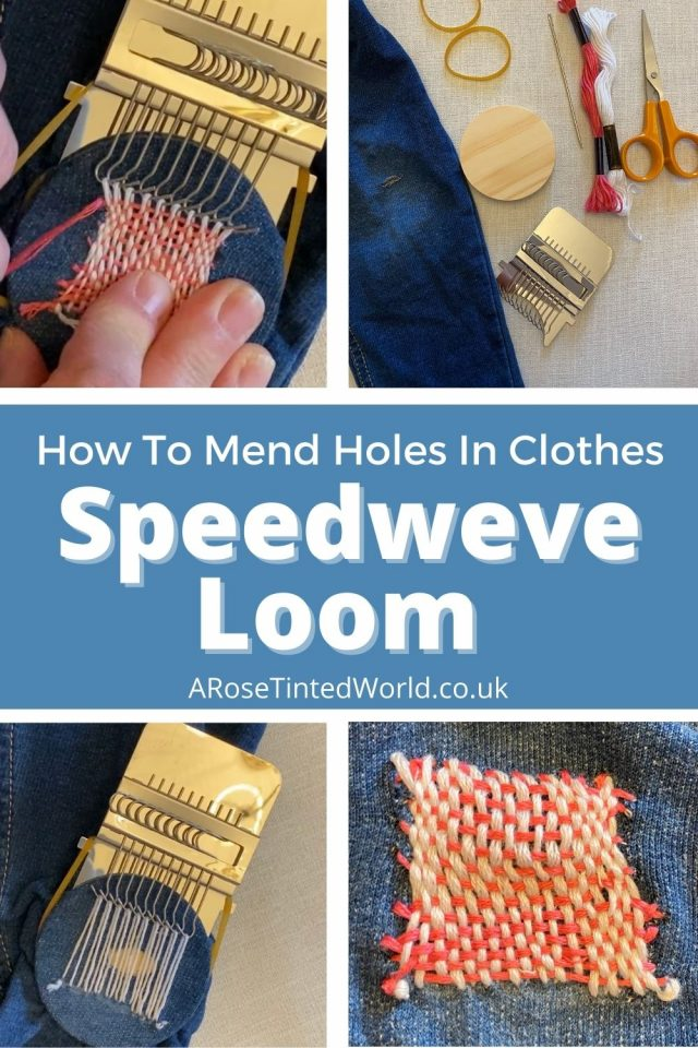 How To Use A Speedweve Loom - mending holes in clothes can make them last longer. Fix that hole and be more sustainable using a Speed Weve. This mini loom was developed in the 1940s WWII era as a way of making do and mend - thus saving clothes. Be more zero waste by darning and stitching rips, tear and worn out sections of your own clothing.